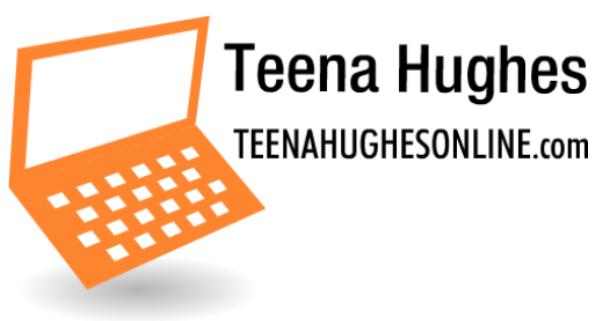 Teena Hughes Online laptop logo orange