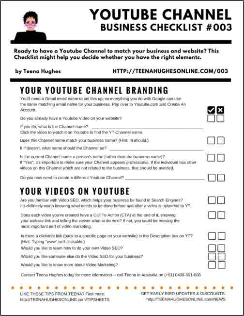Youtube Channel Business Checklist to help business owners